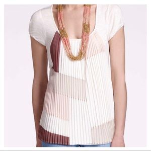 Anthropologie One September Colorblock Pleated Top